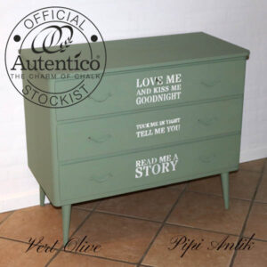 Retro sart grøn kommode i Vert Olive til baby Autentico L89xD43xH73 cm