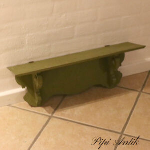 Hylde olivenfarvet orignal bemalet L62,5xD18xH22 cm