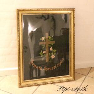 Kristent billede sort guld brodereret H70xB56,5 cm