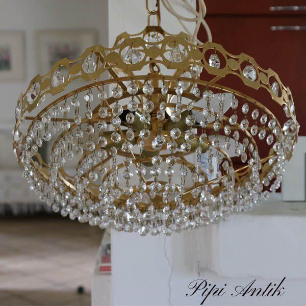 Krystal loftlampe krone retro Ø42x23 cm