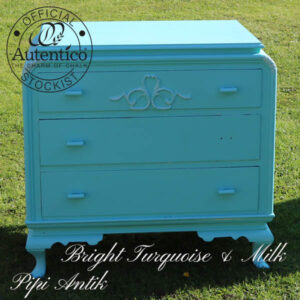Kommode lys tyrkis Autentico Bright Turquoise & Milk L80xD50xH76 cm