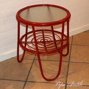 Rundt orange rød patineret bambusbord Ø45x53 cm