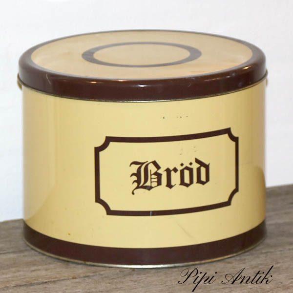 Brøddåse svensk beigegul og brun Ø26x19 cm