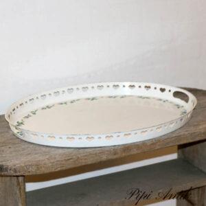 Ovalt metal bakke romantisk grønne mønster 56x43x4 cm