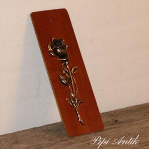 Teak billede med metal rose B10xH28 cm