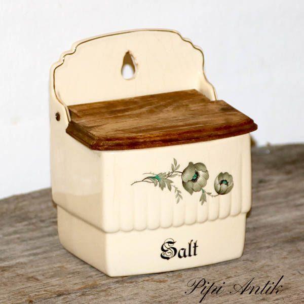 Saltkar beige fajance 13x10x16 cm