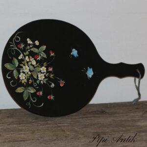 Skærebræt 1980erne mat malet på en side mørkeblåt 41,5xB28x1,5 cm tyk