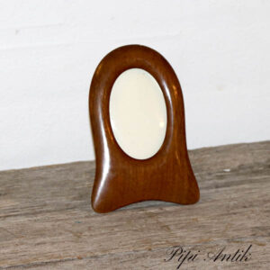 Maghoni fotoramme ovalt oprejst lille 15x10,5 cm