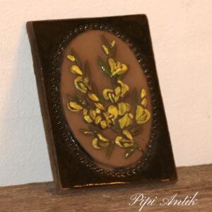 46 JIE svensk keramikbillede gule blomster B14xH18 cm
