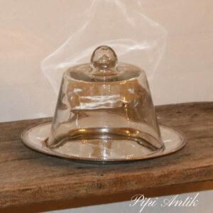 Sølvplet kagefad med glaslåg Ø28x20 cm H