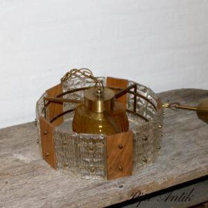 Retro loftlampe teak og glas klart og okkerfarvet Ø31x16 cm