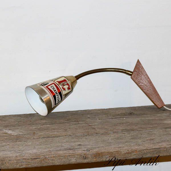 Teak væglampe med klistermærker Ø10x47 cm lang