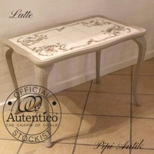 Sofabord med løvefødder og kakler L85xB54xH57 cm Latte Autentico