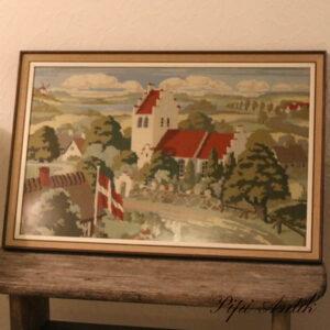 Brodderibillede dansk kirke danebroflag L80xH52,5xD3 cm