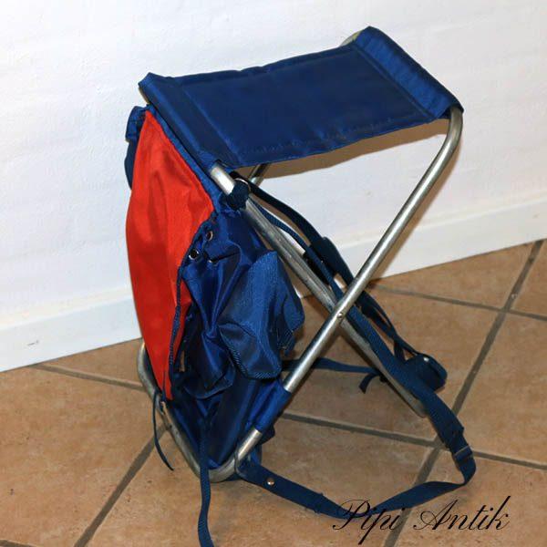 Retro rygsæk i kunstof og stol H42 cm blå rød