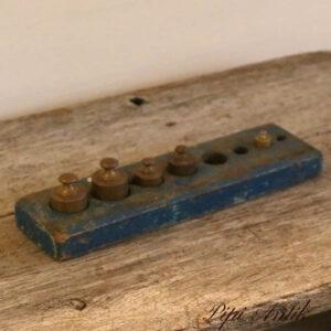 Små vægt lodde mangler 3 stk i blå kasse L27x7,5 cm