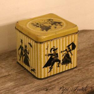 Olivenfarvet stor dåse romantisk 18x18x16 cm