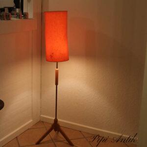 Retro orange fyretræs gulvlampe lidt patineret Ø22x126 cm