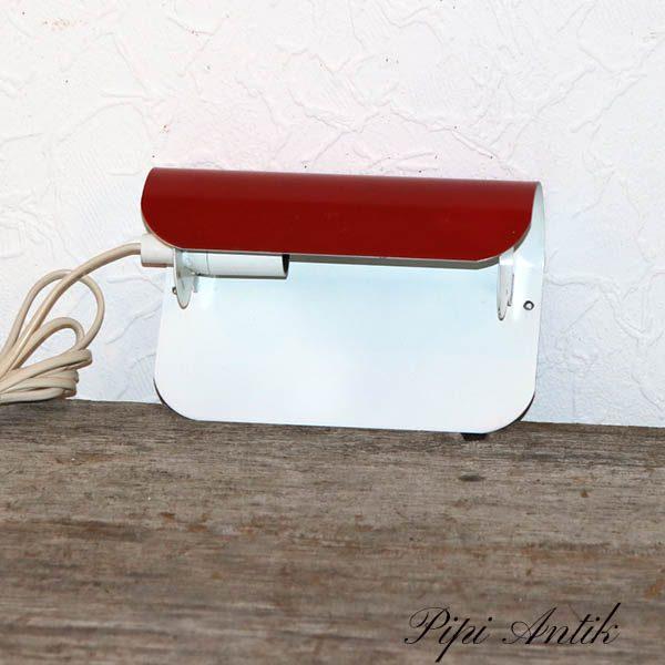 Retro væglampe hvid rødt metal L20x13 cm