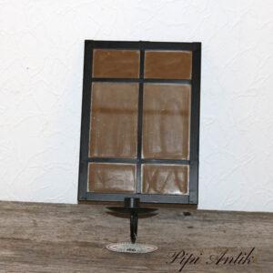 Væglysestage sort og spejl i et 20x35 cm nyere