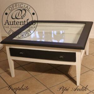 Graphite sofabord nyere glasplade Graphite Autentico som pift 98x98x50cm H