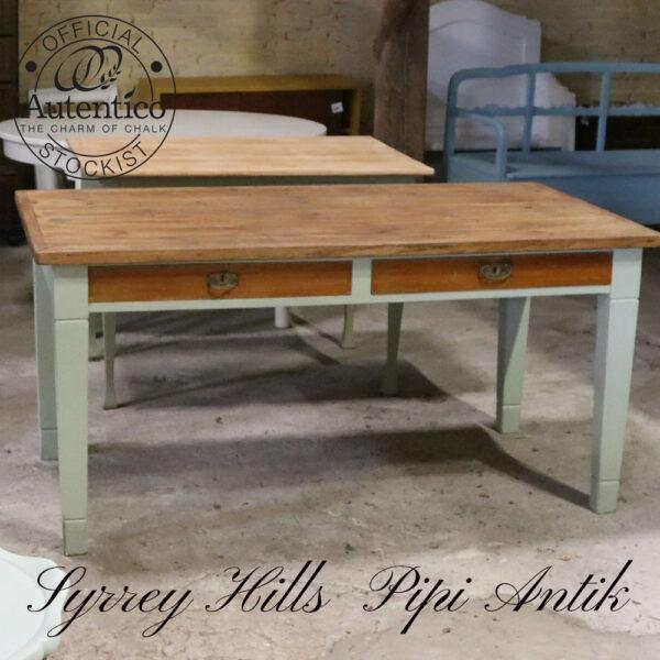 Surrey Hills stort spisebord fra gammelt fysikbord naturskuffe og vokset L155xB86xH75 cm