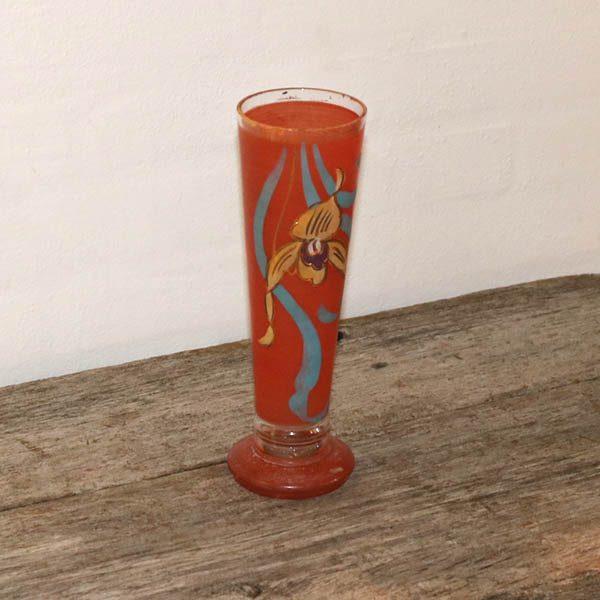 Orange retro glasvase med tryk H25 cm