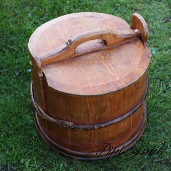 Træspand med låg L34xB32xH26,5 cm