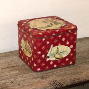 Kagedåse med souvenir motiver fra DK L21,5x21,5xH18,5 cm