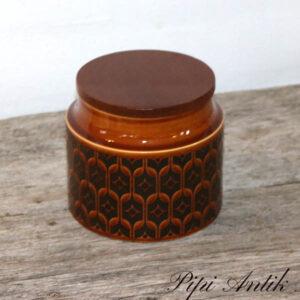 Keramikrukke med teaklåg grun med motiver Hornsea England Hierloom