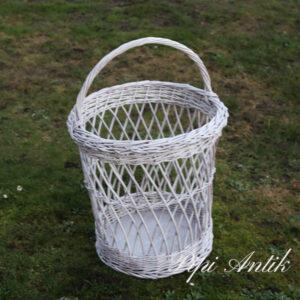 Hvid vasketøjskurv med hank Ø49xH48 cm til hanken hvid