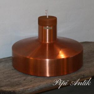 Kobber teak loftlampe Ø36x24 cm H