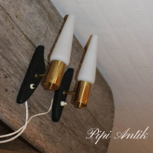 Reto messing opalineglas væglampe sort ophæng H30xB5,5 cm