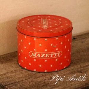 Mazetti kagedåse rød med stjerner Ø22x17 cm