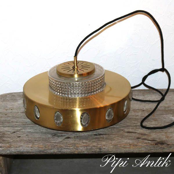 Loftlampe messinglook Orrefors 1 krystal knap mangler Ø38x16 cm