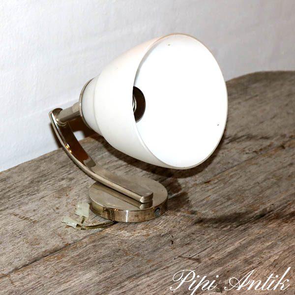Art Deco stils væglampe stål og opalglas Ø14x22 cm H