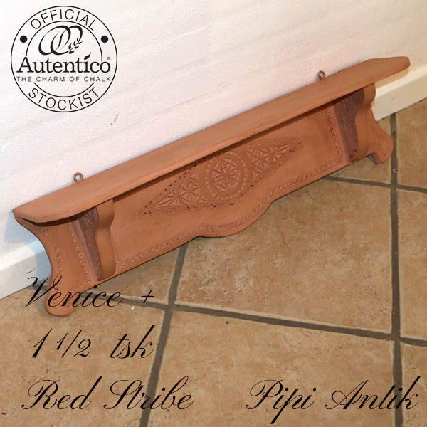 Romantisk hylde laksefarvet med brun voks Venice Autentico L70xH19xD13 cm