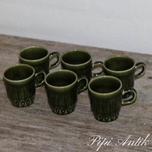 Retro grønne cappucino kopper Ø5x6 cm