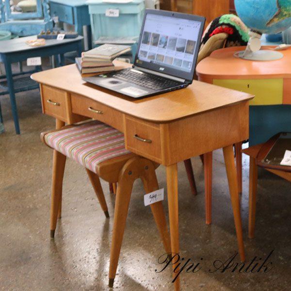 Teak retro sminkebord skrivebord m slanke ben L95xB43xH69 cm