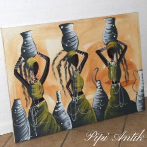 Retro lærredsbillede af afrikanske damer vandhentning L98x70 cm