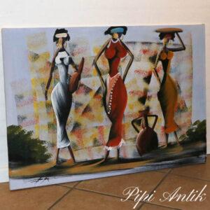 Retro lærredsbillede af kurverige afrikanske damer 97x70 cm