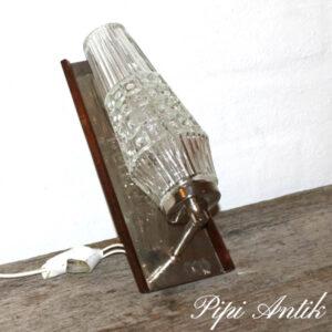 Retro teak glas krom væglampe B20xH24xH14 cm