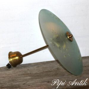 Retro art deco loftlampe tyrkis glas og gule blomster messing Ø42x40cm H