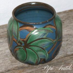Kahler vase mini i blå grønne nuancer Ø11x10 cm bitte skår i kanten