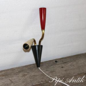 Retro væglampe rød emalje og creme plastic H16 cm