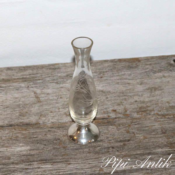 Sølv og glasvase 1 tårns Ø5x17 cm