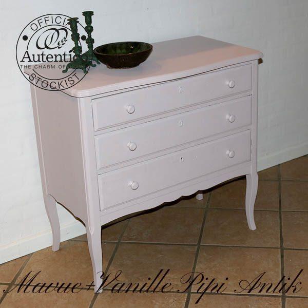 Kommode sart rosa Mauve og Vanille Autentico L81xB44,5xH78 cm