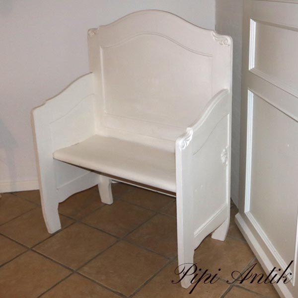 Kærestebænk råhvid Old White L88,5xD47xH118 sædet 45 cm