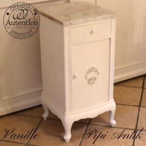 Vanille sengebord marmortopplade Autentico L40xD42xH80 cm