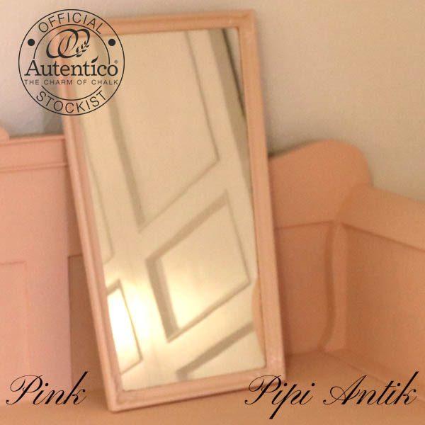 Pink lyserød spejl med perlemor pynt Autentico B39,5xH67,5